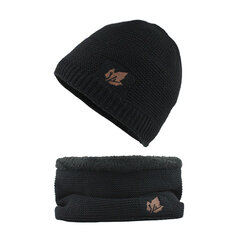 Mens Wool Velvet Knitted Hat Scarf Thick Winter Thick Vintage Vogue Ear Neck Warm Scarf Beanie Set