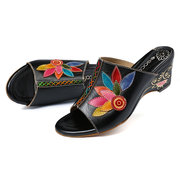 SOCOFY Soft Genuine Leather Splicing Hand Painted Flowers Pattern Wedge Heel Daily Sandals