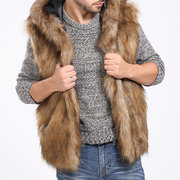 Mens Faux Fur Thickened Warm Coat Hooded Slim Fit Fashion Casual Fur Vest