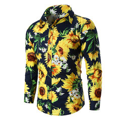 Sunflower Printed Turn Down Collar Long Sleeve Casual Shirt for Men
