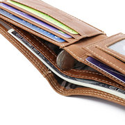 Genuine Leather Casual Multi-solts Driver License Trifold Wallet For Men