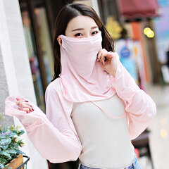 Womens Solid Color Breathable Diving UV Sun Protection Neck Protection Mask Shawl