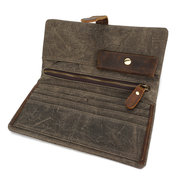 Canvas With Leather Wallet 6 Card Slots Vintage Casual Waterproof Clutch Bag Coin Bag For Men