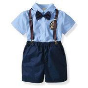 4Pcs رسميّ أولاد بنت أولاد طقم ملابس أطفال قميص + شورت + حزام + bow ل 1Y-9Y