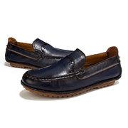 Herren Vintage Echtes Leder Atmungsaktiv Rutschfest Soft Slipper