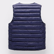Men Thicken Warm Safe Pockets Stand Collar Solid Color Casual Down Vest