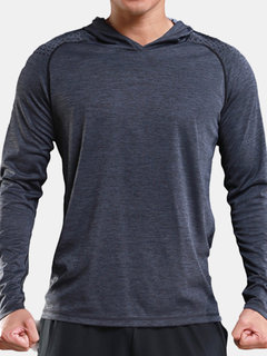 Mens Casual Sport Long Sleeve Breathable Hoodie Solid Color Slim Fit T-shirt