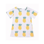 Girls Kids Short Sleeve O Neck Pineapple Printed T-shirts