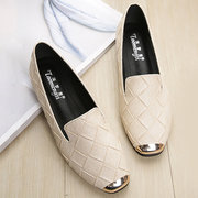 Embossing Round Toe Metal Detailed Flats