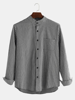 Mens Cotton Striped Retro Breathable Long Sleeve Single-breasted Loose Casual Shirt