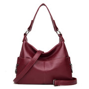 Women Pure Color Soft PU Leather Elegant Shoulder Bags Crossbody Bags