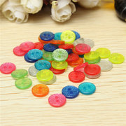50pcs Mixed Color Glitter Sparkly Resin Buttons - Silver Gold Green Mixed Sewing DIY Craft Buttons