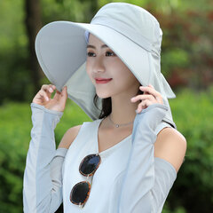 Women Satin Solid Color Bucket Sun Hat With Shawl Multi-function Sunshade Hats Outdoors Use