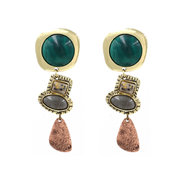 African Retro Style Tassels Earrings Bohemian Green Gem Ear Drop Women Accessories