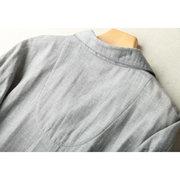 Mens Home Loose Lapel Collar manga comprida Top respirável algodão quente conjunto de pijamas