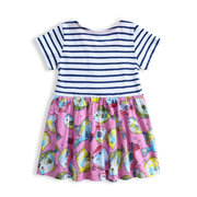 Cute Fish Striped Girls Casual Patchwork Dress For 1-7Years