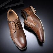 Men Retro Color Genuine Leather Slip Resistant Large Size Formal Shoes