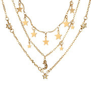 Bohemian Star Tassels Necklace Moon Rhinestone Pendant Multi-layer Alloy Necklace For Women