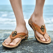 Men Comfy Arch Support Outdoor Slip Resiatnt Water Beach Leather Flip Flops