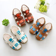 Boys Leather Squishy Anti-collision Breathable Beach Sandals