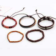 Multilayer Wood Bead Bracelet Casual Fashion Braided Leather Bracelets for Men Women