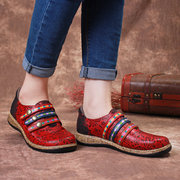 SOCOFY Sooo Comfy Retro Colorful Hook Loop Genuine Leather Splicing Lace Stitching Flat Shoes