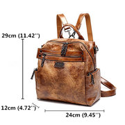 Women Vintage Oil Wax Multi-function Backpack Large Capacity Crossbody Bags Solid Handbags