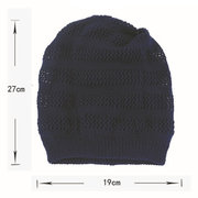 Women Solid Warm Breathable Knitted Hat Multifunction Casual Elastic Windproof Beanie Hat
