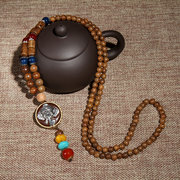 Nepal Buddhist Tibetan Wood Bead Necklace Elephant Flower Agate Necklace Ethnic Long Necklace