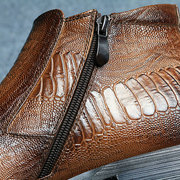 Z6 Large Size Men Crocodile Pattern Plush Lining Side Zipper Dress Boots