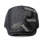 Men Denim Cotton Embroidered Beret Cap Casual Outdoors Peaked Hat