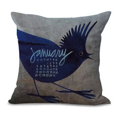 Vintage Style Little Bird Square Cushion Cover Square Pillow Case Home Office Sofa Decor