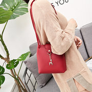 Women Girl Candy Color Deer Decoration Bucket Bag Shoulder Bag Crossbody Bags