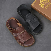 Men Hand Stitching Woven Style Genuine Leather Comfy Non Slip Sandals