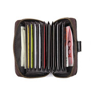 RFID Men Genuine Leather 15 Card Slot Card Holder Vintage Coin Purse