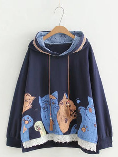 Cute Loose Cat Hoodies for Women