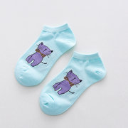 Women Cute Candy Color Cat Animal Cotton Boat Socks Casual Breathable Soft Socks