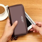 Men Business Casual Zipper Long Wallet Phone Bag Clutch Bag