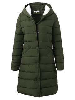 Casual Solid Color Long Sleeve Hooded Women Cotton Down Coats