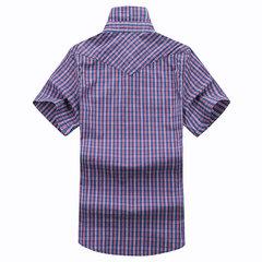 Plaid traspiranti in cotone allentati casuali stampati Banda camicie a collo alto per uomo