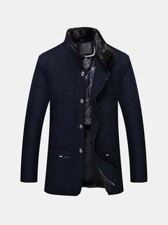 Мужское шерстяное пальто Съемный воротник из флиса внутри сгущенного флиса Шинель