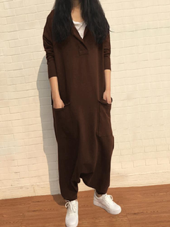 Loose Long Sleeve Solid Color Women Casual Jumpsuit