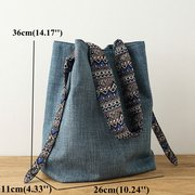 National Style Bucket Bag Canvas Casual Shoulder Bag Crossbody Bags