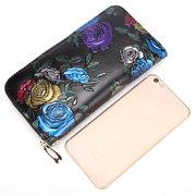 Brenice Cowhide Embossed Flowers Clutches Bags Vintage Zipper Long Wallets