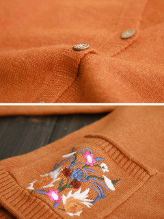 Floral Embroidery Long Sleeve Button Vintage Women Cardigan