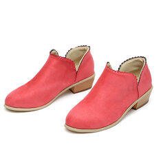 Large Size Chelsea Laciness Slip On Short Ankle Boots For Women