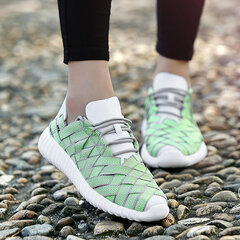 Hollow Breathable Knitting Lace Up Sport Casual Shoes For Women