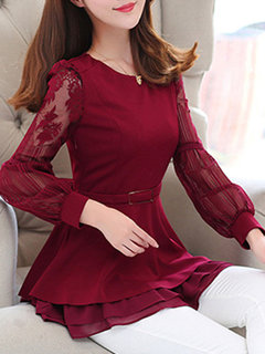 Chiffon Lantern Sleeves O-neck Ruffled Shirts