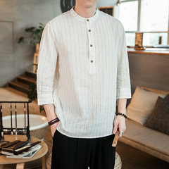 Mens Casual Cotton Linen Half Sleeve Summer Style Camisetas Vintage Retro Tops