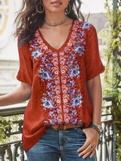 Floral Print V-neck Short Sleeve Casual T-shirt